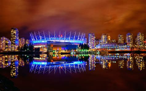 Vancouver BC Place in Blue at Night   The color of BC